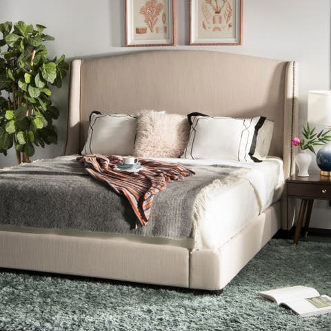 SAFAVIEH Couture Clio Natural Linen King Bed