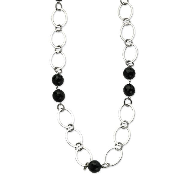 Chisel Stainless Steel Ovals & Onyx Gemstones 24 with 2 Inch Extension Necklace (18 mm) - 24 in