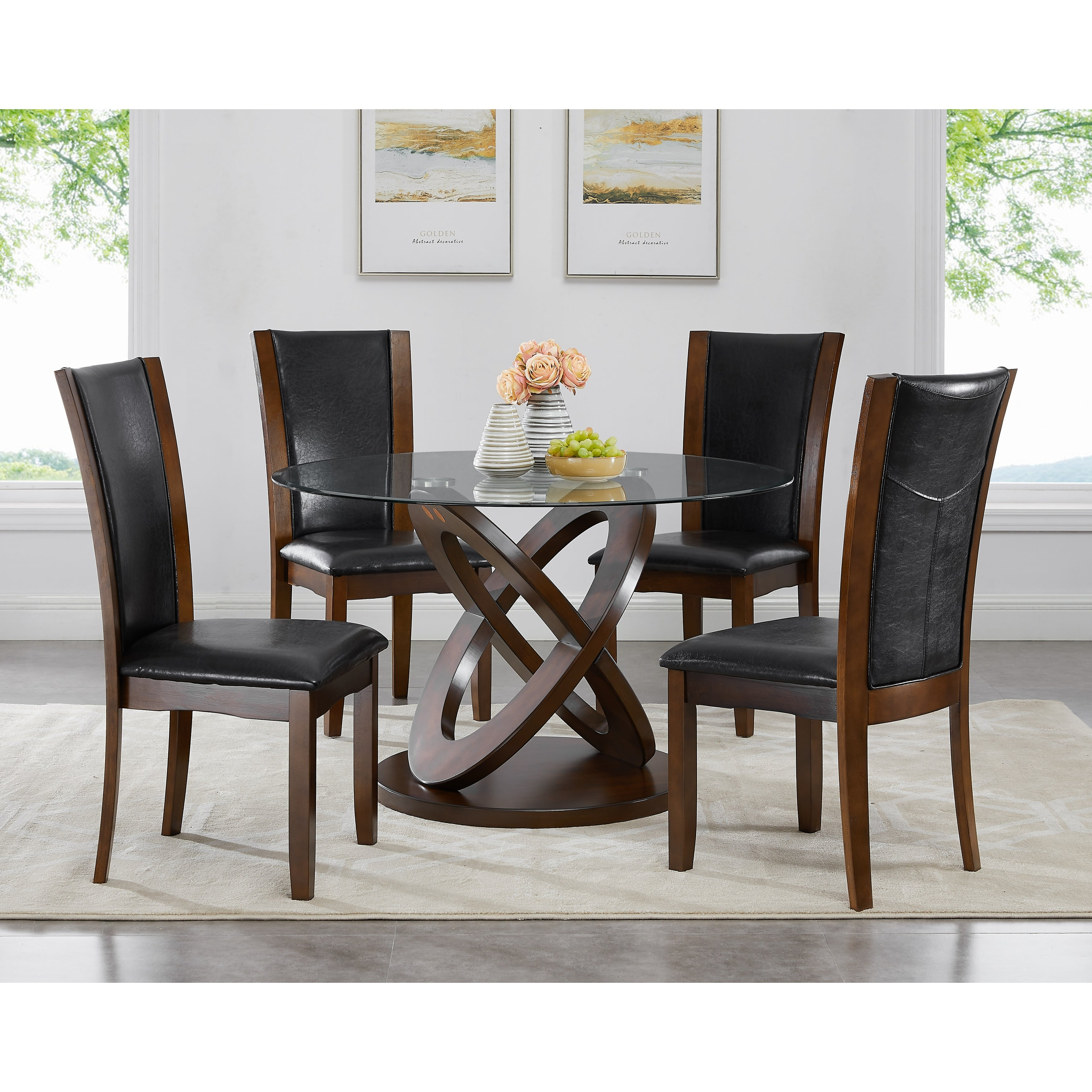 Cicicol 5 Piece Glass Top Dining Table With Chairs Overstock 14458173
