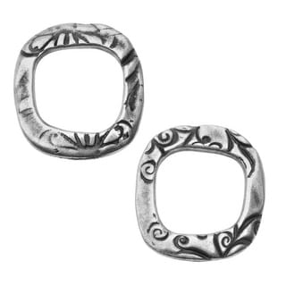 TierraCast Connector Link, Jardin Square 17mm, 2 Pieces, Antiqued Pewter