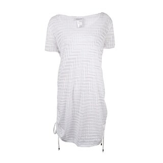 Dotti Women's Textured Hooded Ruched Tunic Swim Cover - White