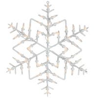 "18"" White Lighted Snowflake Christmas Window Silhouette Decoration"