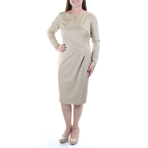 Womens Gold Long Sleeve Knee Length Sheath Party Dress Size: 2