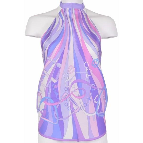 Gucci Women's 367214 Lilac Equestrian Horsebit Scarf Halter Top Blouse OS