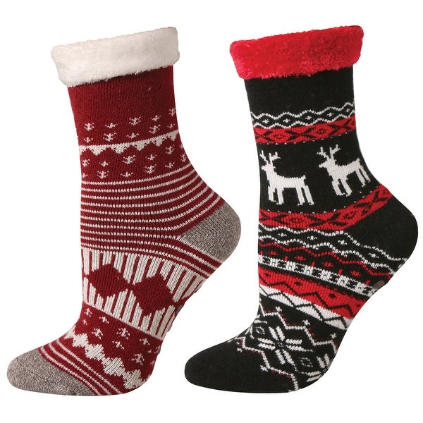 Womens Socks - Cabin and Lounge Print with Rubber Soles - Set of 2 Red - One size