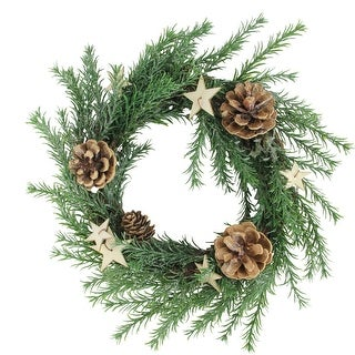 """11"""" Green Pine Cones and Stars Christmas Wreath – Unlit - N/A"""