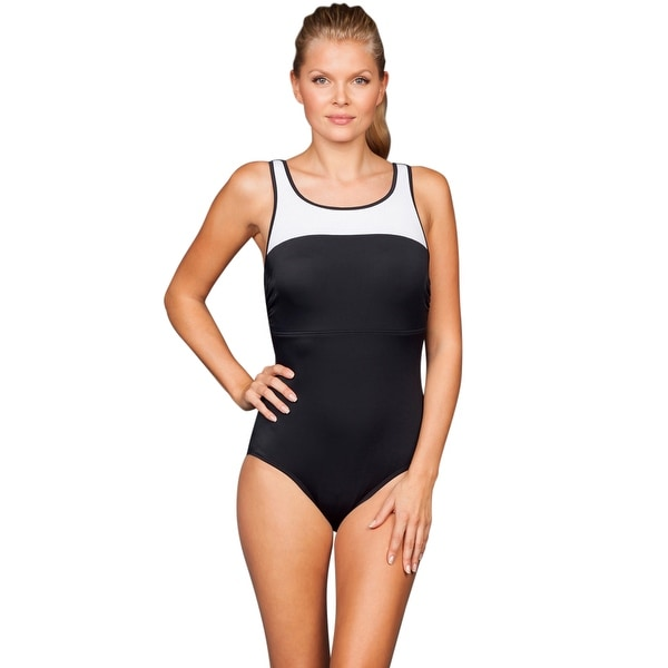 818c183d68 Shop Reebok White Set The Place Colorblock High Neck One Piece Swimsuit -  BLACK/WHITE - 12 - Free Shipping Today - Overstock - 17662433