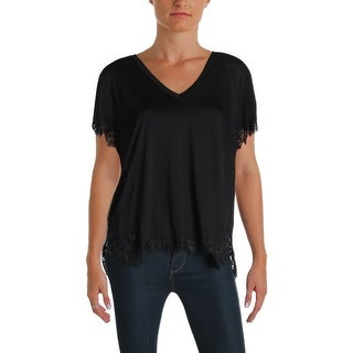 Helmut Lang Womens Casual Top Lace Trim V Neck
