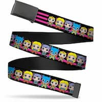 Blank Black Bo Buckle Dc Mini Girls Stripe Black Pink Webbing Web Belt