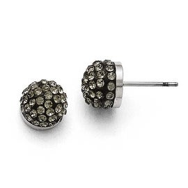 Chisel Stainless Steel Polished Black Enamel with Crystals Post Earrings