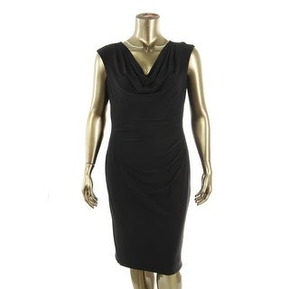 Lauren Ralph Lauren Womens Matte Jersey Drapey Wear to Work Dress