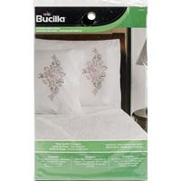 """Stamped Embroidery Pillowcase Pair 20""""X30""""-Rose Garden"""