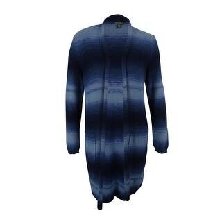 Ralph Lauren Women's Ombre Open Front Cardigan Sweater - indigo multi - xL