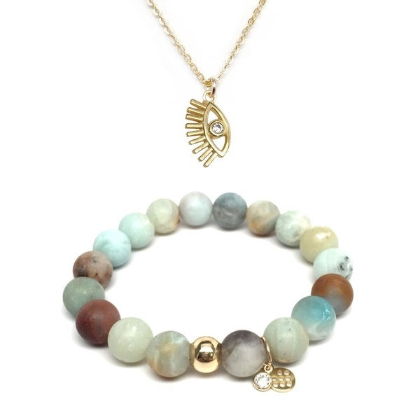 Green Amazonite Bracelet & CZ Lucky Eye Gold Charm Necklace Set