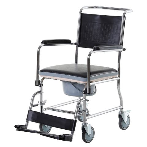 HomCom Personal Mobility Assist Bedside Commode Toilet Chair with Large Detachable Bucket & Wheelchair Design
