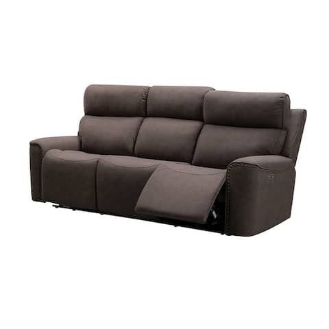 Abbyson Braxton Brown Fabric Power Reclining Sofa