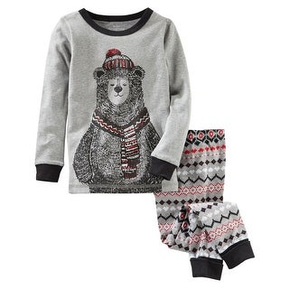 OshKosh B'gosh Baby Boys' 2-Piece Bear Snug Fit Cotton PJs, 9 Months - Grey