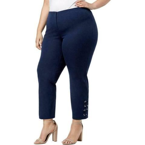 Alfani Women's Pants Blue Size 14W Plus Lace Up Ankles Comfort Stretch