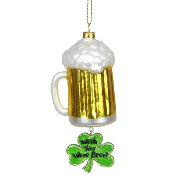 """5.5"""" Luck of the Irish """"Wish You Were Beer"""" Glass Christmas Ornament - green"""