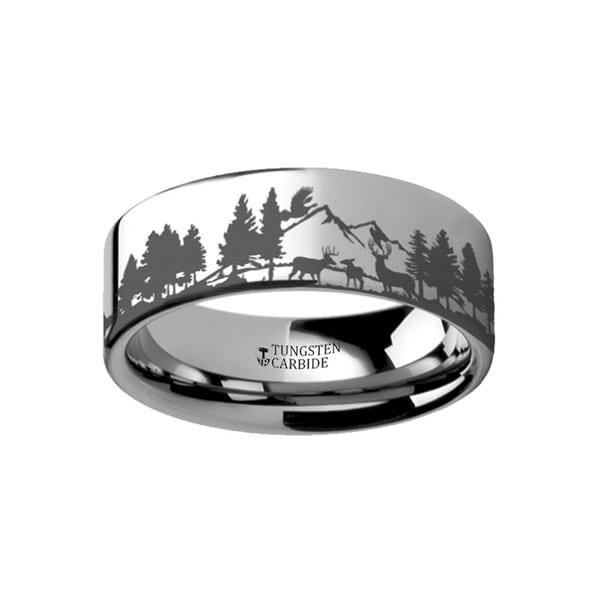 THORSTEN - Animal Landscape Scene Reindeer Deer Stag Mountain Range Ring Engraved Flat Tungsten Ring - 12mm