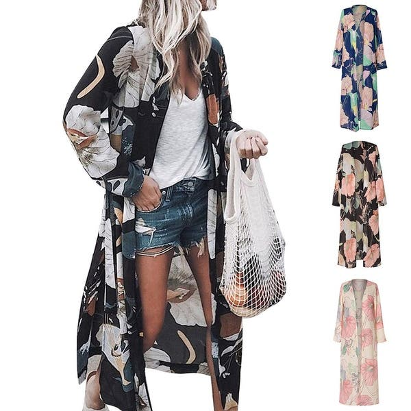 060ef745a69 Women Floral Loose Kimono Boho Beach Smock Long Chiffon Top Long Sleeve  Blouse