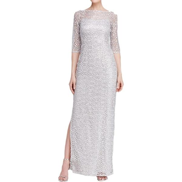 Kay Unger Womens Evening Dress Metallic Lace