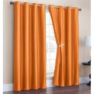 Radiance 2 Pack Faux Silk Room Darkening Grommet Panel, Orange, 52x90 Inches