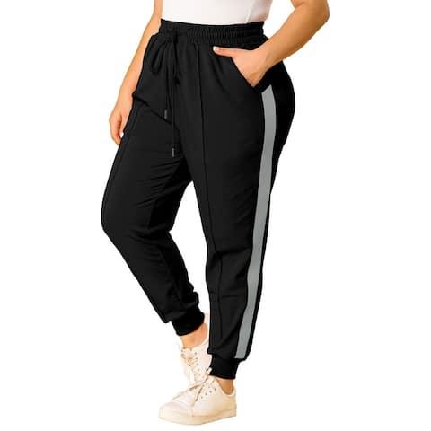 Women's Plus Size Sweatpants Elastic Waist Contrast Color Jogger Pants