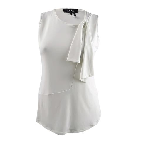 DKNY Women's Tie-Neck Top (L, White) - White - L