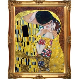 The Kiss, by Gustav Klimt Metallic Embellished Framed Hand Painted Oil on Canvas