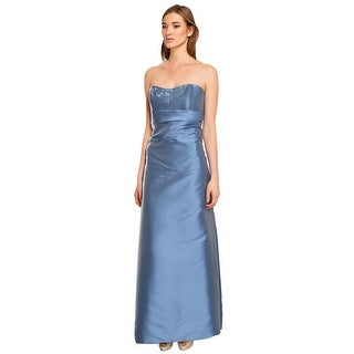 Liancarlo Silk Ruched Beaded Strapless Formal Evening Gown Dress - 12