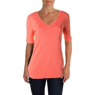 Three Dots Womens Elbow Sleeves V-Neck T-Shirt