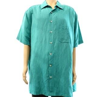 Tasso Elba NEW Teal Green Men Size 2XL One-Pocket Button Down Silk Shirt