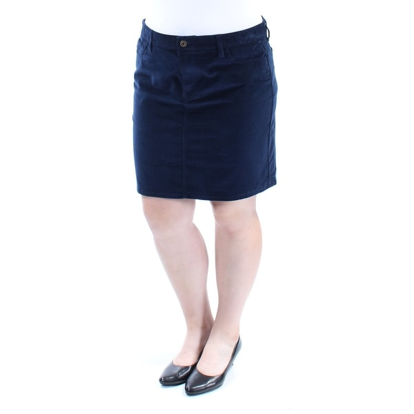 e03a46eb7f3f Shop TOMMY HILFIGER Womens Navy Corduroy Knee Length A-Line Skirt Size  16  - On Sale - Free Shipping On Orders Over  45 - Overstock - 25687102