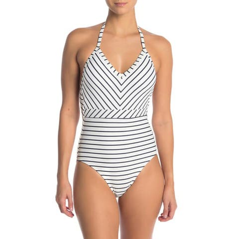 Tommy Hilfiger Striped Halter Top One-Piece Swimsuit, White, 16
