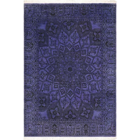 Overdyed Medallion Maryrose Purple Hand knotted Rug - 8'1 x 9'9 - 8 ft. 1 in. X 9 ft. 9 in.