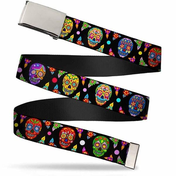 Blank Chrome Buckle Colorful Calaveras Black Multi Color Webbing Web Web Belt