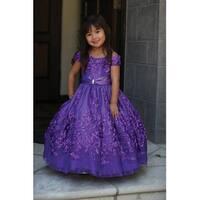 Angels Garment Purple Tulle Ribbon Sequin Flower Girl Dress 2T-6 - 2t