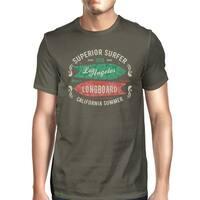 Superior LA Surfer Longboard Mens Dark Gray Vintage Summer Shirt
