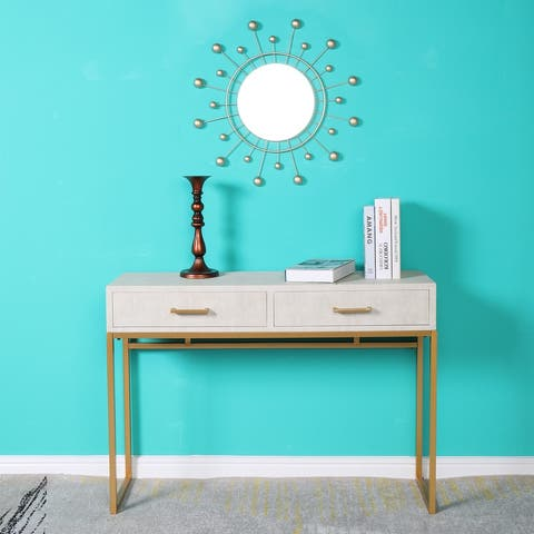Modern Beige Artificial Leather Console Table