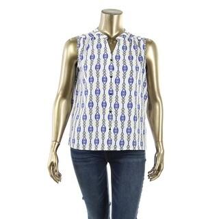 Nine West Womens Pattern Sleeveless Button-Down Top