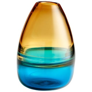 "Cyan Design 09957  Jupiter 7"" Diameter Glass Vase - Amber / Blue"