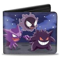 Gengar Evolution Group + Pok Ball Purples Bi Fold Wallet - One Size Fits most