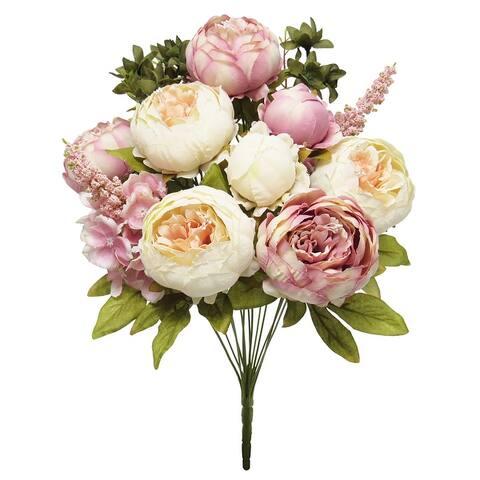 Mixed Peony Hydrangea Flower Stems Bush Bouquet 19in