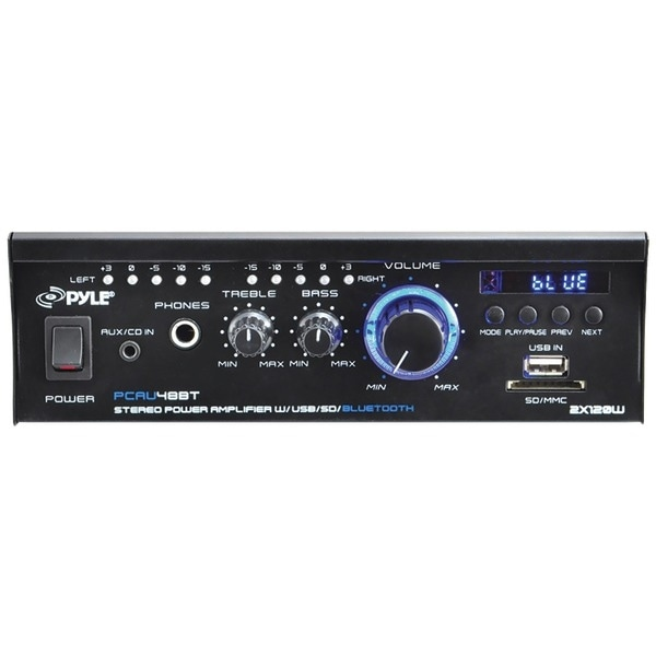 PYLE HOME PCAU48BT 120-Watt Mini Blue Series Bluetooth(R) Stereo Power Amp