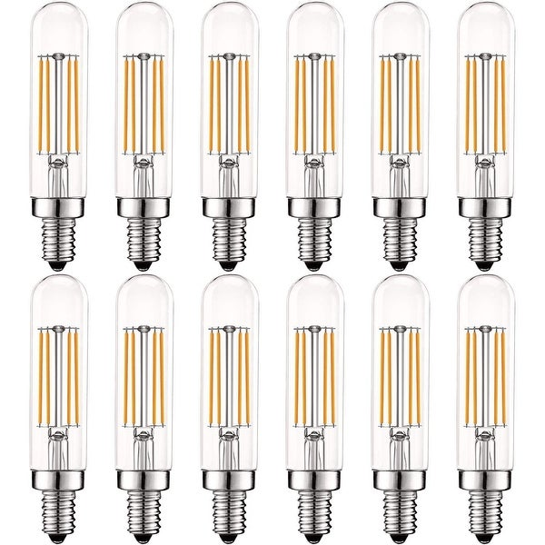 Luxrite Vintage E12 LED Bulb 60W Equivalent, T6 T6.5, 2700K Warm White, 500 Lumens, Dimmable LED Tube Bulbs (12 Pack). Opens flyout.