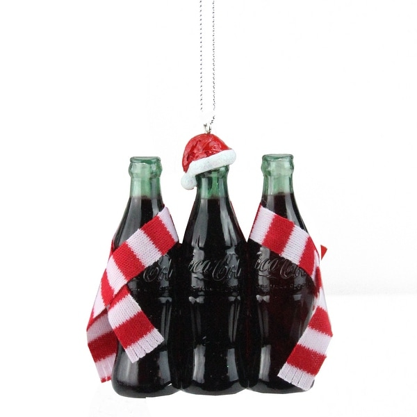 "3.75"" Coca-Cola® 3 Bottles with Santa Hat and Striped Scarf Christmas Ornament - black"