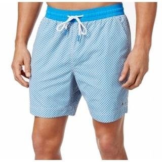 Tommy Hilfiger NEW Blue Grey Mens Large L Geo-Printed Board Surf Shorts