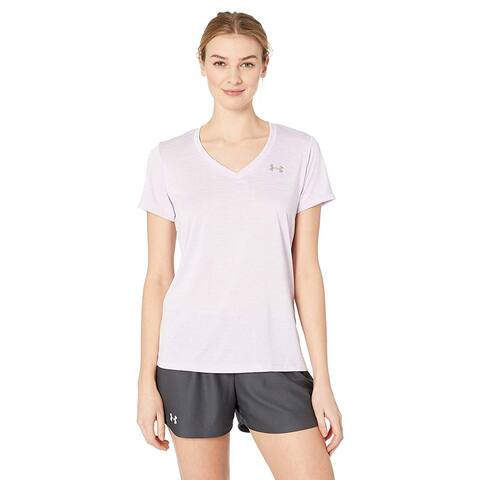 Under Armour Women's Tech Twist V-Neck, Purple Ace/Metallic Silver, L
