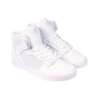 Supra Vaider Mens White Leather High Top Lace Up Sneakers Shoes